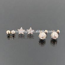Rhinestone Star & Fireball Fashion Stud Earrings Set