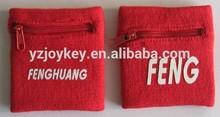 high quality sport cotton wristband with zipper pocket