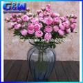 nova decoração de flores de plástico rosa fúcsia flor artificial mini buquê com 12 rosa flor cabeças