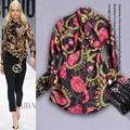 Melhor qualidade de moda de nova camisa de seda Chiffon 2015 primavera mulheres Golden Chain impressão gola laço de manga comprida Casual blusas feminino