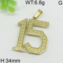 """Classic style gold plating """"15"""" design stainless steel pendant 52217950110-180"""
