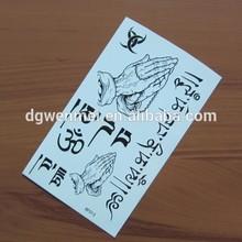 Custom Skin Safe Temporary Belief Black Character Tattoo Sticker for Beauty Body
