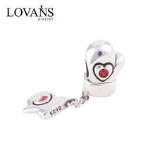 China Wholesal Silver Jewelri Heart Angel Wings Charm Two Hole Beads YZ324