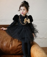 factory supply 2015 spring girls dress retro style black and white princess skirt long sleeve princess dress with necklace