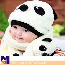Warm winter gift cartoon panda 100% wool winter hat and scarf set