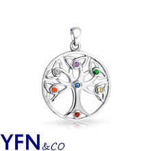 Sterling Silver Lucky Tree of Life Pendant Necklace Pave Multi-color CZ