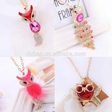 Animal Pendant Owl Sweater Chain Necklace Ladies Wild Fox Peacock Diamond Necklace Long Necklace Decoration