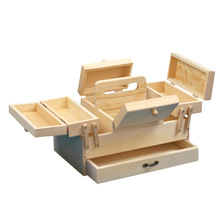 unfinished wholesale wooden sewing basket wooden sewing box folding sewing box