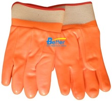 Red Foam & Interlock Lined PVC Rubber Coated Safety Gloves with Safety Cuff
