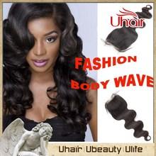 No tangle brazilian body wave natural color hair piece closure raw unprocessed virgin brazilian hair
