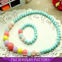 2015 cheap Children's Day jewelry kids acrylic beads necklace bracelet bead jewelry sets TJ5048