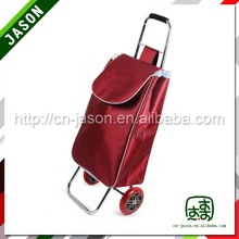 folding luggage cart durable round canvas and leather travel bag