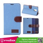 High Quality Wallet Jeans Cloth Skin Flip Leather Case for Samsung Galaxy Note 4 N910
