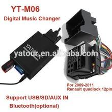 Yatour digital music changer YT-M06>Car audio Bluetooth/USB/SD/AUX digital player for Renautl 12PIN