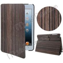 High Quality Wood Skin Flip Smart Leather Case for iPad Mini / iPad Mini 2 Retina / iPad Mini 3 with Wake Sleep