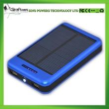 High capacity 15000mAh dual output aluminum alloy portable solar power bank charger for iPhone, Samsung, iPad