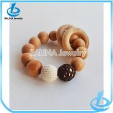 Wholesale fashion handmade ring unique wood bead ring