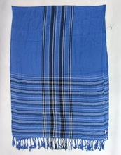 PG2217 Fashion Polyester Striped Pattern Printed Scarf With Fringes