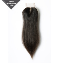 Shedding Free Tangle Free Unprocessed Natural Color Straight Malaysian Virgin Human Hair Closure Hair Extension