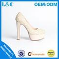 L&c d200-f1 sapatos de casamento branco de noiva de renda alta calcanhar sapatos italianos sapatos de noiva
