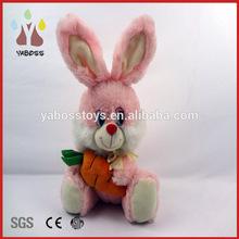 Custom cute pink sitting bunny plush rabbit with carrot