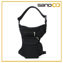 China suppliers outdoor black motorcycle leg bag, funky cycling waist bag