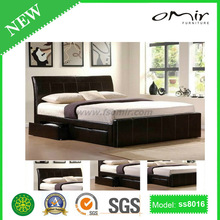 wood double bed designs with box SS8016