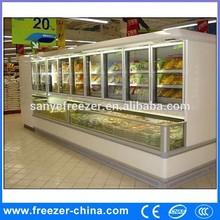 Big capacity good looking large glass door supermarket display refrigerator and freezer