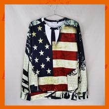Fashion American Flag Print 3D Rock T-shirt Long Sleeve Tee Top