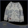 projetos do bordado de alta qualidade de algodão bordado do laço blusa da moda para a mulher