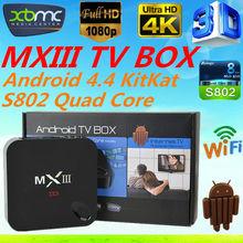 mxiii m82 android 4.4 tv box mxiii amlogic s802 4k hd rooted jailbroken xbmc quad core mx iii 4k mx3 android tv box