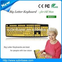 USB/PS/2 big letter keyboard laptop keyboard to usb adapter for elder people