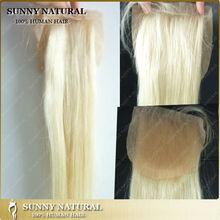 #613 blonde silk base lace closure piece human hair Brazilian silk closure full hand tied
