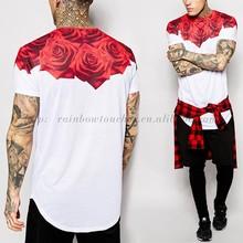 Custom Oem Printing Red Rose Scoop Hem T Shirt Men for 2015