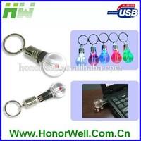 Bulb Shinning Light Metal 8GB Usb Flash Stick Disk Stick with KeyRing