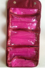 Warmly welcomed oem & custom roll up cosmetic bag foldable toiletry bag