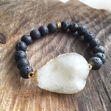 B15011603 White Druzy Black Lava Rock Bead Bracelet With Gold Plated