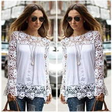 Fashion Women's Long Sleeve Lace Crochet Shirt Blouse Tops White Blouse With Lace ZT009993instyles