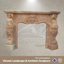2015 high quality home decor white marble marble fireplace images