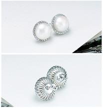 925 Silver Earrings With Freshwater Pearl For Women Crystal Ball Cut Stud Earring PE017