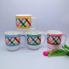 Drinkware type colorful X design mixed ceramic coffee mug tableware wholesale
