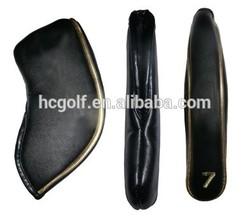 black PU golf iron club cover