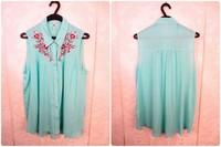 HIJ-14-LB-13-007 Sleeveless embroidery lady blouse