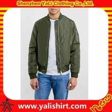 Custom top quality comfortable plain nylon/polyester waterproof bomber jacket men