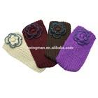 Fashion lady's acrylic knitting warm headband with flower hand made