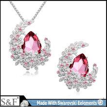 19079 Yiwu Manufacturers Jewelry with swarovski crystal 18k gold full jewelry set