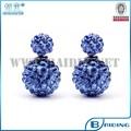 china nuevo producto hermoso azul de cristal shamballa ball stud pendiente