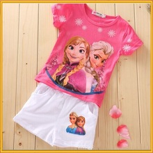 Kids Clothing Wholesale Summer T-shirts And Short Pant, Custom T-shirt Printing Girl Frozen T-shirt ZZJ-PX-12