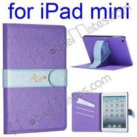 Silk Pattern Stand Belt Magnetic PC+PU Leather Case for iPad Mini / iPad Mini 2 Retina / iPad Mini 3 with Card Slots