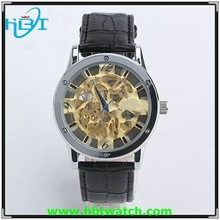 2015New fashion Men's cute Leather antique skeleton watch winner